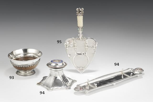 A silver and enamelled inkwell and pen tray by Omar Ramsden and Alwyn Carr, London 1917 and 1913