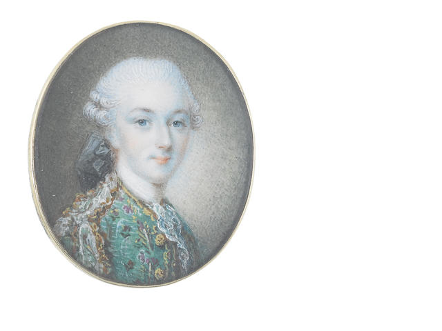 French School, circa 1750 A Gentleman, wearing green coat, edged with gold and purple brocade and white lace, white chemise, stock and lace cravat, his powdered wig worn en queue and tied with a black ribbon bow