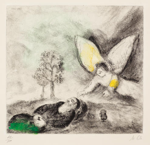 Marc Chagall (Russian/French, 1887-1985) Elie touché par un ange, from the Bible series Etching with hand colouring, 1958, on Arches, intialled and numbered 44/100 in pencil, published by Tériade Éditeur, Paris, 245 x 262mm (9 5/8 x 10 1/4in)(PL)