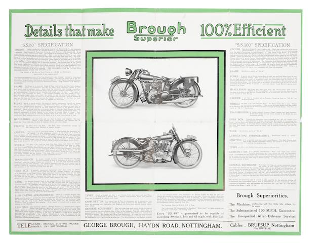 A 1925 Brough Superior SS80/SS100 sales pamphlet,
