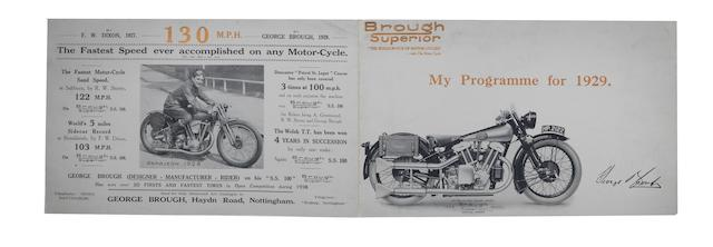 A Brough Superior 'My Programme for 1929' sales pamphlet,