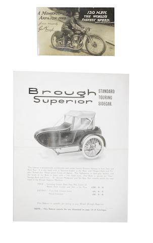 A 1929 Brough Superior '130mph The World Fastest Speed' postcard,