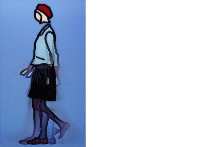 Julian Opie (British, born 1958) Jennifer Walking (Cristea 145) Lenticular acrylic panel, 2010, signed and numbered 11/35 in black ink on a label verso, in the artist's brushed aluminium frame, printed by Riot of Colour, London, published by Alan Cristea Gallery, London, 830 x 478mm (32 5/8 x 18 3/4in)(SH)