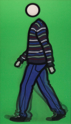 Julian Opie (British, born 1958) Jeremy Walking in Stripy Jumper (Cristea 146) Lenticular acrylic panel, 2010, signed and numbered 11/35 in black ink on a label verso, in the artist's brushed aluminium frame, printed by Riot of Colour, London, published by Alan Cristea Gallery, London, 830 x 470mm (32 5/8 x 18 1/2in)(SH)