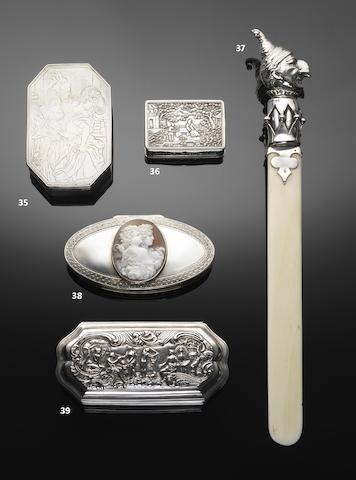 A 19th century Dutch silver and shell cameo mounted tobacco box by H Kalbfleisch, Vlissingen 1812-13