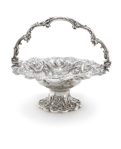 A Victorian silver swing handled basket, Sheffield 1837
