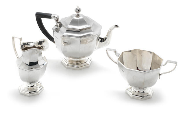 A silver Art Deco three-piece tea service by Mappin & Webb, Sheffield 1924  (3)