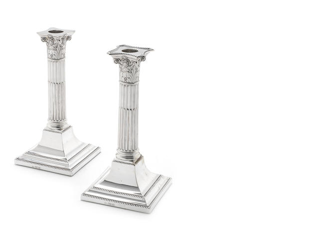 A pair of 20th century silver candlesticks by Henry Wilkinson, Sheffield 1906  (6)