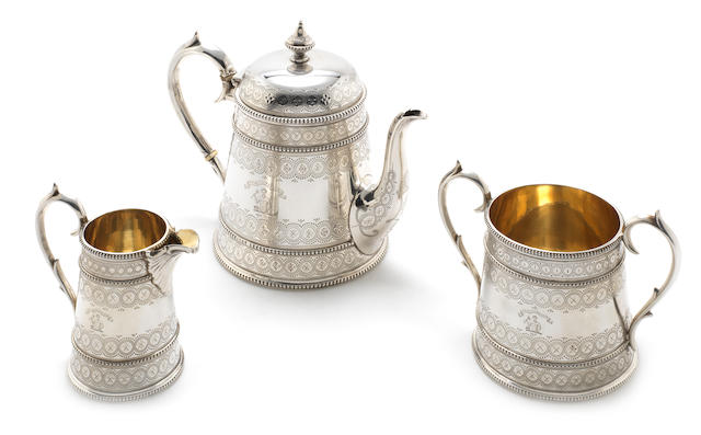 A Victorian three piece silver tea service by John & Edward Barnard, London 1869, with Victorian Registration mark