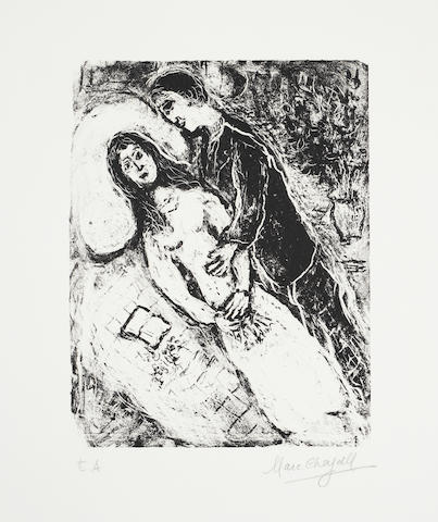 Marc Chagall (Russian/French, 1887-1985) Love Lithograph, 1972, on Arches, signed, and inscribed 'E.A.' in pencil, an artist's proof, aside from the numbered edition of 30, with full margins,  585 x 425mm (23 x 16 3/4in)(SH)