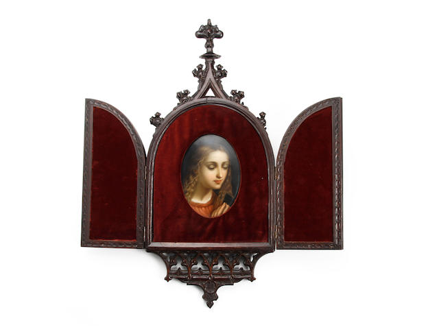 A German painted porcelain plaque, probably Berlin  Circa 1880-1900