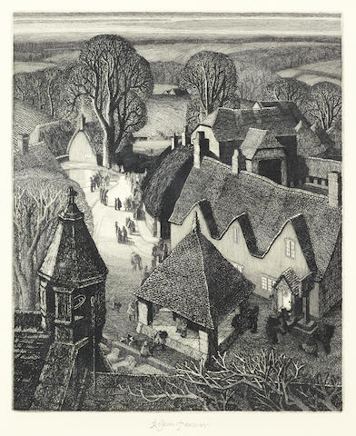 Robin Tanner (British, 1904-1988) Christmas  Etching, 1974, on wove, signed in pencil, from the edition of 50, from the pen Print Room edition, published by McDonald & Nicholson, with margins, 332 x 275mm (13 x 10 3/4in)(PL)  check if the two different editions make a difference in price? Are we sure its the Print Room edition? the back states the print runs- check with gordon