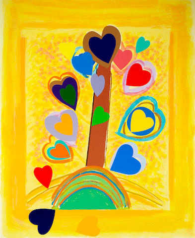 Sir Terry Frost R.A. (British, 1915-2003) Love Tree  Screenprint and collage printed in colours, 2002, on Arches, signed and numbered 67/85, printed at Coriander Studio, London, published by CCA Galleries, Tilford, 1020 x 830mm (40 1/8 x 32 3/4in)(SH)