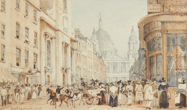 George Sidney Shepherd (British, 1784-1862) Ludgate Hill and St Paul's Cathedral