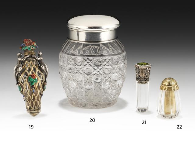A late 19th/early 20th century French jewelled and gold mounted scent bottle by Lefebvre Fils Ainé, Paris