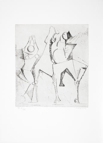 Marino Marini (Italian, 1901-1980) Graphic Work  The complete portfolio comprising twenty etchings with drypoint, 1972, on BKF Rives and Arches paper, each signed and numbered IX/XX in pencil, aside from the edition of 60, (there were also 5 HC), with title and  justification pages and text within green fabric covered boards, printed and published by Luigi de Tullio, Milan, with their blindstamp, within the original boar leather portfolio, 415 x 315mm (16 1/8 x 12 3/8in)(PL); (765 x 565mm (30 1/8 x 22 1/4in)(Folio)