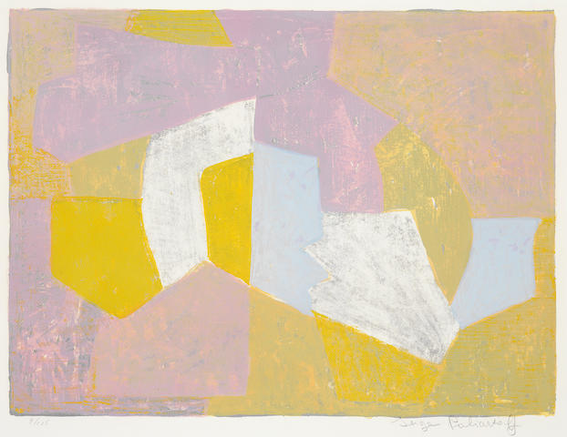 Serge Poliakoff (Russian, 1900-1969) Composition in Carmine-Red, Brown, Yellow and Grey Lithograph printed in colours, 1956, on BFK Rives, signed and numbered 9/125 in pencil, printed by Pons, Paris, published by Nesto Jacometti, L'Oeuvre Gravée, Zurich, with margins, 476 x 690mm (18 3/4 x 27 11/64in)(I)
