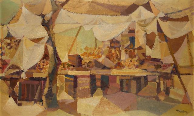 Romeo V. Tabuena (Filipino, born 1921) Market stalls, Mexico