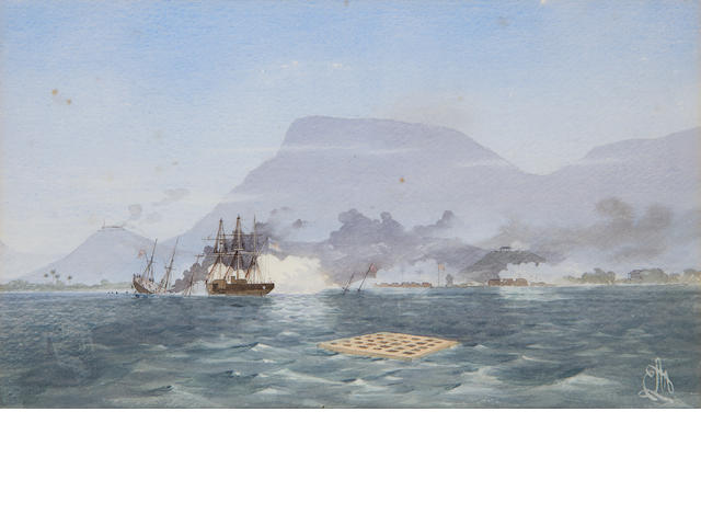 Edward Lawton Moss (Irish, 1843-1880) HMS Bulldog shelling the Forts at Cap Haiti on 9th November 1865 after sinking the rebel vessel Valdrogue