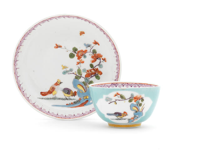 A Meissen celadon ground kakiemon teabowl and saucer (crack to cup)
