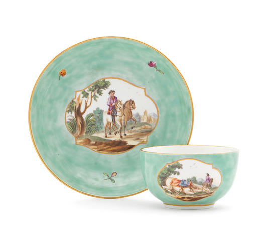 An unusual Höchst green-ground teacup and saucer, circa 1770