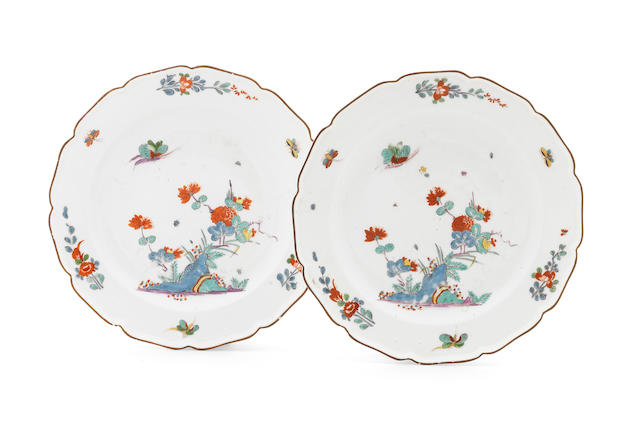 A pair of Meissen plates, circa 1735