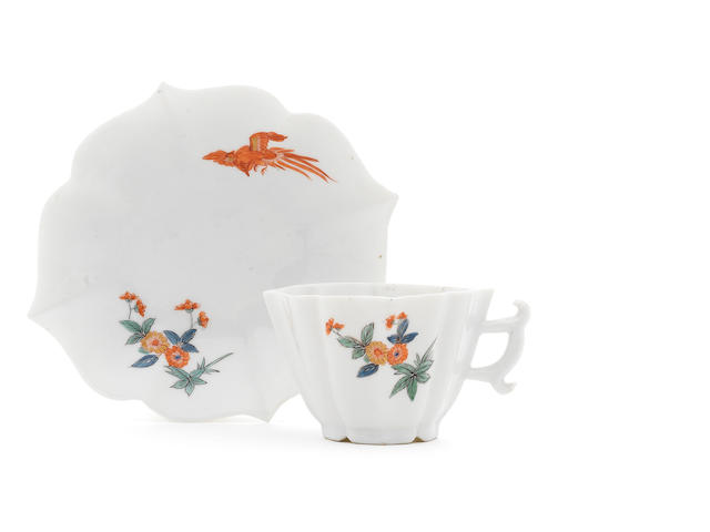 A Meissen kakiemon-decorated moulded cup and saucer afther the Japanese example, with Japanese Palace inventory number