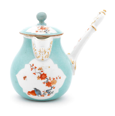 A Meissen turquoise-ground chocolate pot and cover, circa 1730-35