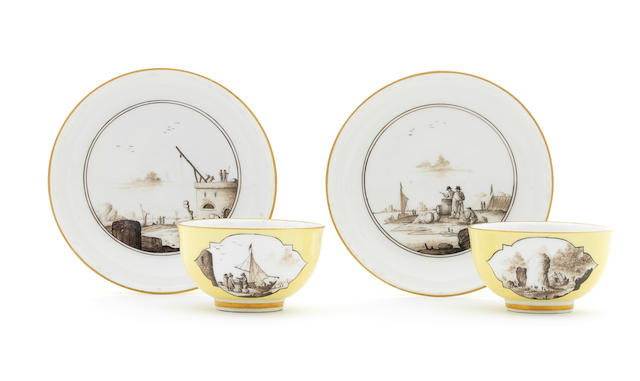A pair of Meissen yellow-ground teabowls and saucers, circa 1740