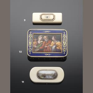 A 19th century gold and enamelled snuff box apparently unmarked