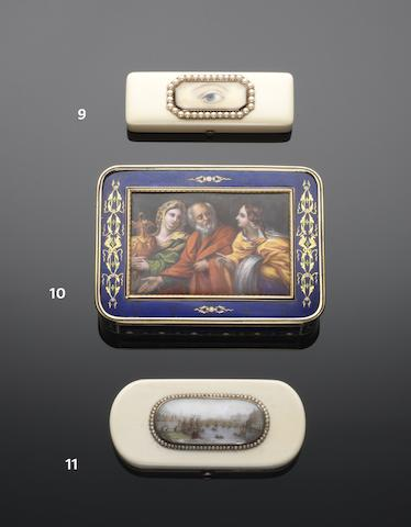 An early 19th century ivory, pearl and gold mounted toothpick case