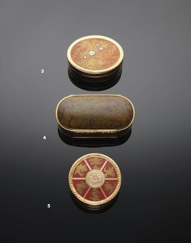 A Louis XVI cinnabar lacquer and vari-colour gold mounted bonbonnière maker's mark rubbed, Paris 1774