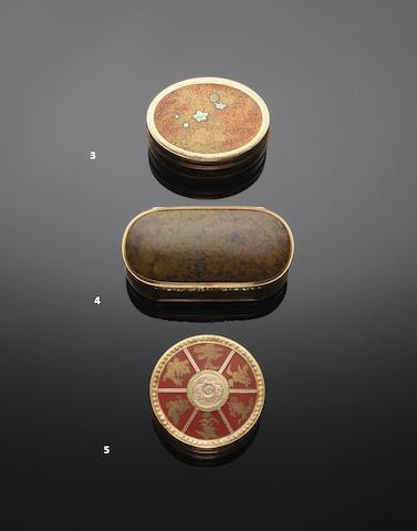 A Louis XVI cinnabar lacquer and vari-colour gold mounted bonbonnière maker's mark rubbed, Paris 1774