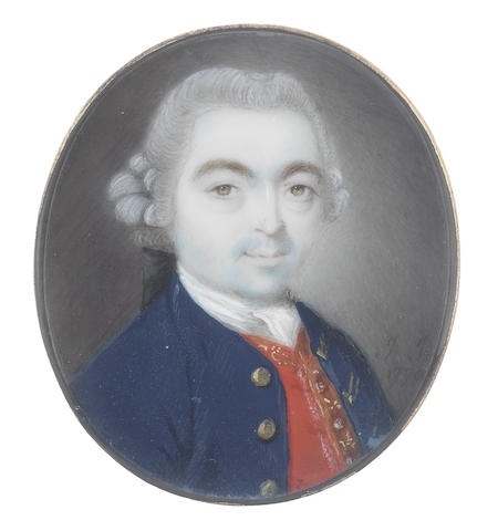 John Smart (British, 1742-1811) A pair of portrait miniatures of a Husband and Wife; the former, wearing dark blue coat with brass buttons, crimson waistcoat edged with gold, white chemise, stock and cravat, his powdered wig worn en queue and tied with a black ribbon bow; the latter, wearing cornflower blue dress edged with white embroidery, white lace fill-in, black lace fichu crossed over her chest and ribbon choker, her powdered hair upswept beneath a white lace mob cap dressed with blue ribbons