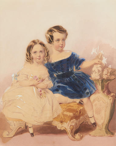 Annie Dixon (1817-1901) Lieutenant-Colonel Archibald Charles Henry Douglas-Pennant (1837-1884) and Eleanor Frances Susan Douglas (b.1839), seated on a gold upholstered chair; the former, wearing blue velvet spotted dress with matching sash, white frilled chemise and socks, black patent shoes, his brown hair worn short and parted to the left, he holds a lily stalk between his fingers; the latter, wearing white off-the-shoulder dress edged with lace, the sleeves dressed with blue ribbon bows, white socks and black patent shoes, her brown hair centrally parted and curled in ringlets framing her face, she holds a bouquet of pink roses in her arms
