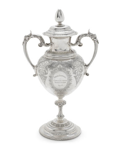 A late Victorian silver presentation cup and cover by P Ashberry & Sons, Sheffield 1898