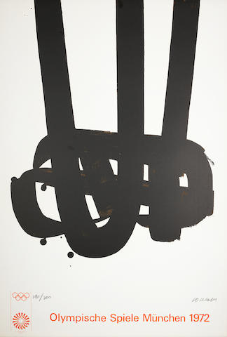 Pierre Soulages (French, born 1919) Olympische Spiele Munchen 1972 Lithograph, 1972, on wove, signed and numbered 190/200 in pencil, published by the Olympic Comittee, Munich, with full margins, 1042 x 700mm (41 x 27 1/2in) (SH) (unframed)