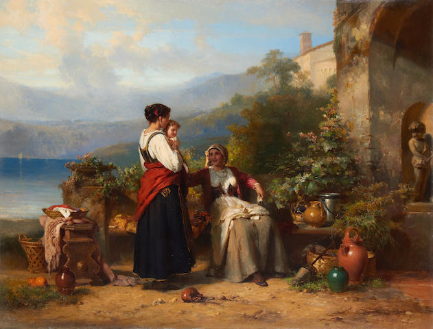 Karel Frans Philippeau (Dutch, 1825-1897) An Italian family on a terrace