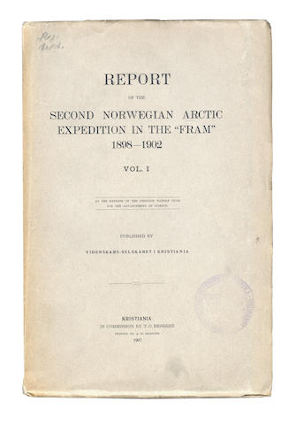 "NORWEGIAN ARCTIC EXPEDITION Report of the Second Norwegian Arctic Expedition in the ""Fram"" 1898-1902... at the Expense of the Fridtjof Nansen Fund for the Advancement of Science, 4 vol., 1907-1919"