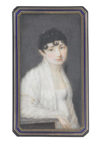 Johns (Belgian, active 1791-1816) A Lady, wearing white dress with short sleeves, a white lace embroidered shawl draped about her, her dark hair curled, upswept and dressed with a gold comb, her right arm resting upon a plinth