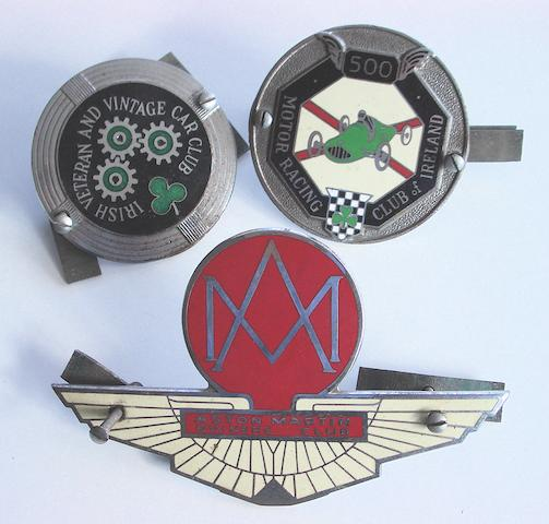 Three motor club enamel car badges,