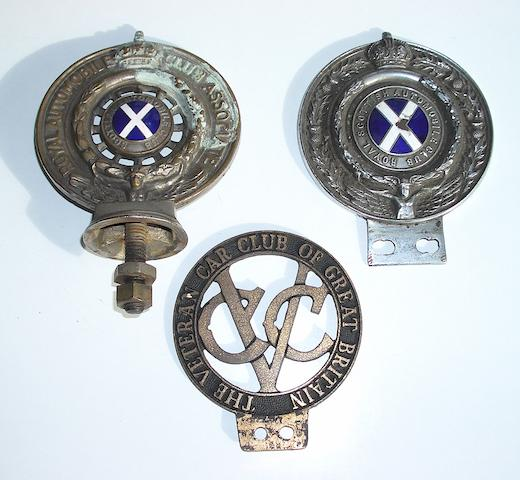 A brass RAC Associate member's car badge with Scottish Automobile Club centre,