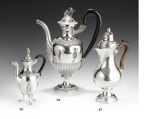 "An impressive late 18th/early 19th century Italian silver coffee pot, maker's mark possibly ""M22P"" for Mateo Pelosi in lozenge punch, Rome"