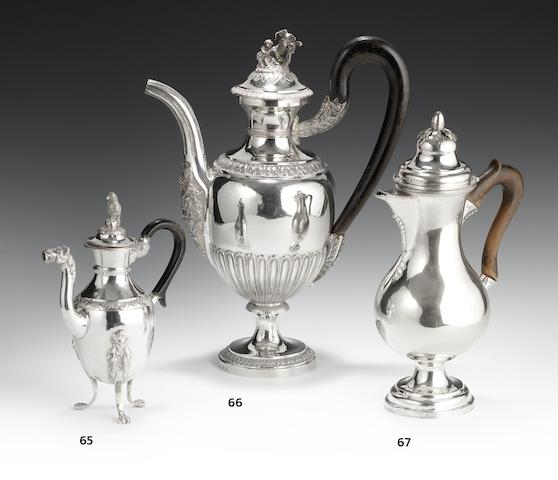 An early 19th century Italian silver coffee pot, maker's mark obscured, first quarter of 19th century,