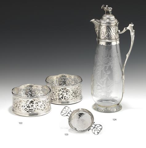 A Victorian silver mounted claret jug by Charles Edwards, London 1883