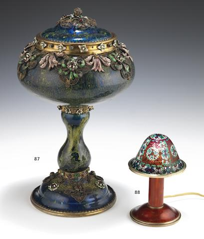 A late 19th/early 20th century Austrian silver-gilt and 'lustre' enamelled cup and cover Maker's mark M & N within a cartouche, Vienna
