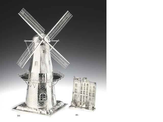 "An early 20th Dutch silver novelty ""windmill"" table ornament  Amsterdam 1908, stamped with incuse maker's mark or retailers mark of G. Schoorl"