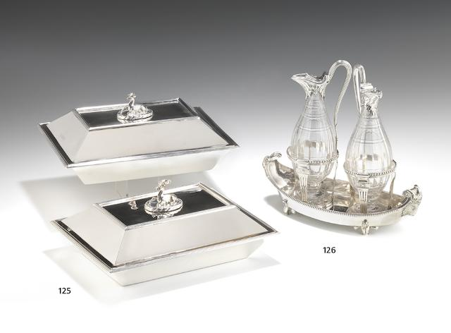 A George III silver oil and cruet set by Peter Desvignes, London 1777