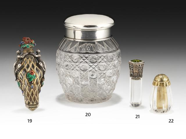 A late 19th/early 20th century Russian silver and cut glass bottle by Karl Fabergé, St Petersburg 1899-1903