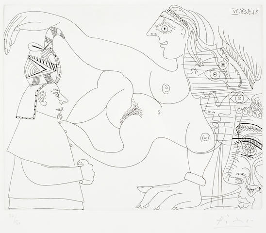 Pablo Picasso (Spanish, 1881-1973) Égyptien et Femmes, from Séries 347 Etching, 1968, on Rives, signed and numbered 36/50 in pencil, printed by Crommelynck, Paris, published by Galerie Louise Leiris, Paris, with full margins, 210 x 265mm (8 1/8 x 10 1/2in)(PL)